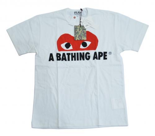 A BATHING APE ア ベイシング エイプ × COMME des GARCONS コムデギャルソン ハートTシャツ CR-2409