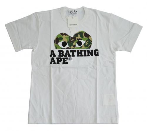 A BATHING APE ア ベイシング エイプ × COMME des GARCONS コムデギャルソン 迷彩ハートTシャツ CR-2417