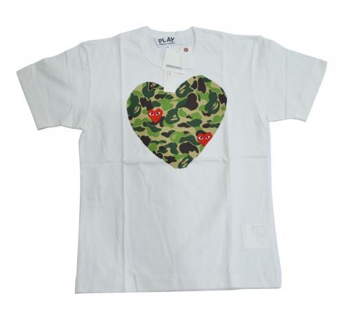 A BATHING APE ア ベイシング エイプ × COMME des GARCONS コムデギャルソン 迷彩ハートTシャツ CR-2424