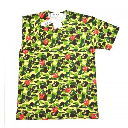A BATHING APE ア ベイシング エイプ × COMME des GARCONS コムデギャルソン 迷彩ハートTシャツ DR-503